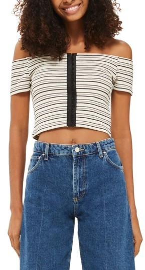 d47f915ae6530c ... Topshop Stripe Off The Shoulder Crop Top ...