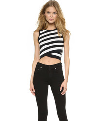 Striped sleeveless crop top medium 372001