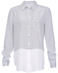 White and Black Horizontal Striped Dress Shirt