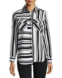 Neiman Marcus Multi Stripe Long Sleeve Blouse Blackwhite