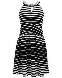 Monteau Girl Big Girls 7 16 Beaded Halter Neck Striped Dress