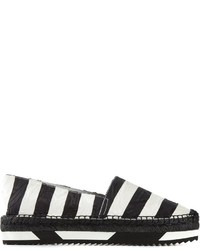 White and Black Horizontal Striped Espadrilles