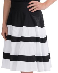 Amanda Chelsea Wide Stripe Pleated Skirt Stretch Cotton