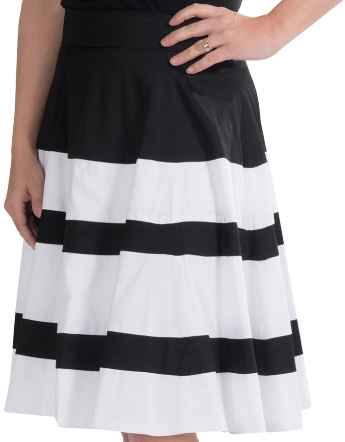 Amanda Chelsea Wide Stripe Pleated Skirt Stretch Cotton | Where to ...