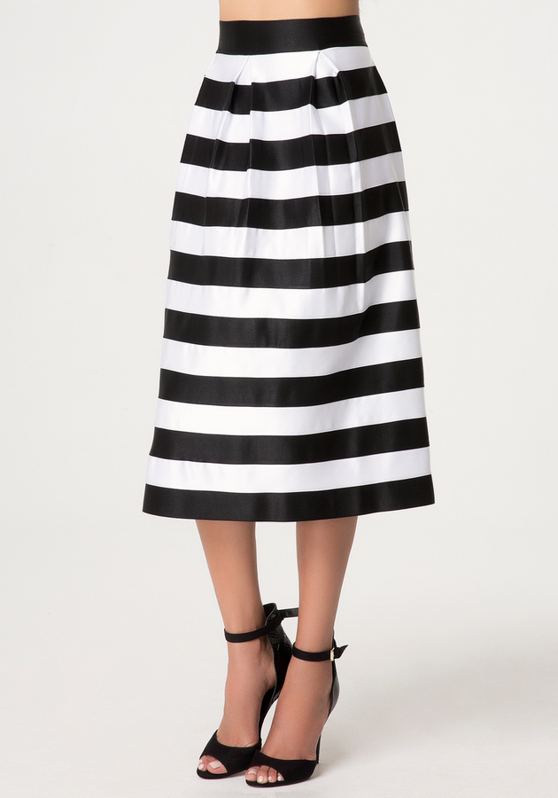 Bebe Zola Striped Skirt | Where to buy & how to wear