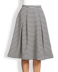 Nicholas Pleated Striped Ponte Skirt