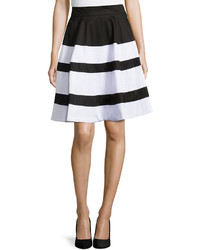 Neiman Marcus Striped A Line Skirt Blackwhite