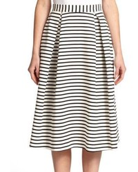 Nicholas Striped Ponte A Line Skirt