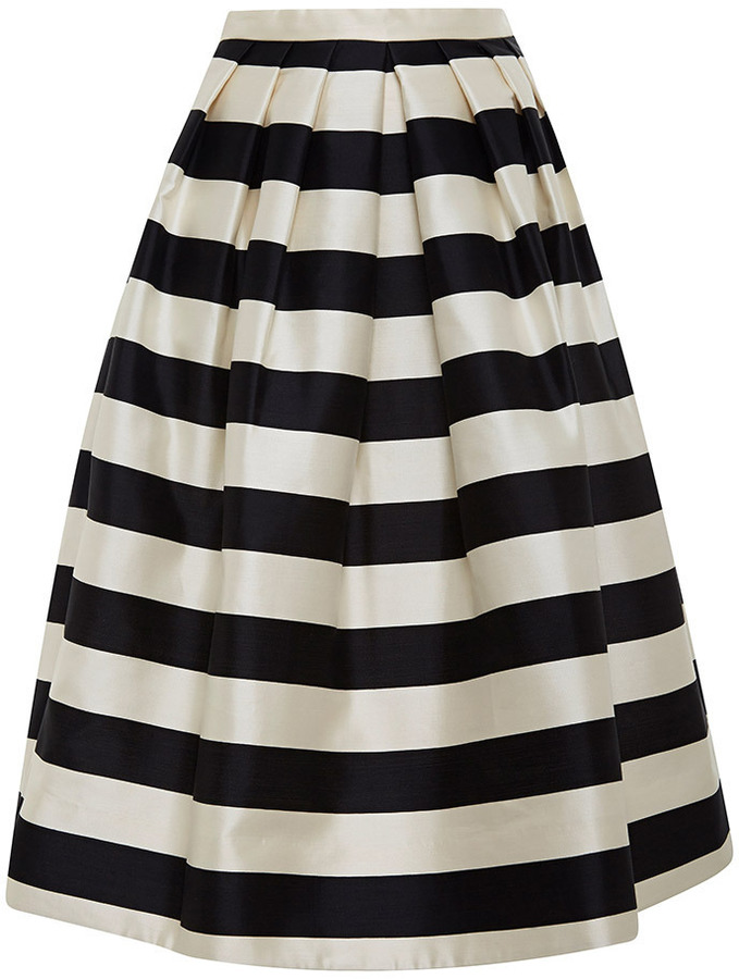 Tibi Striped Silk Satin Midi Skirt | Where to buy & how to wear