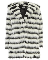White and Black Horizontal Striped Fur Coat
