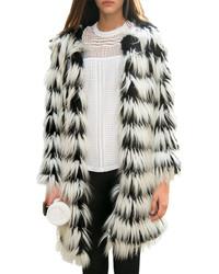 Chicnova imitated fur stripes coat medium 151329