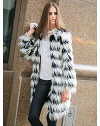 Choies Black And White Stripes Long Line Fox Faux Fur Tassels Warm Coat