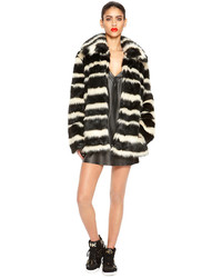 Dkny faux fur striped coat medium 151328
