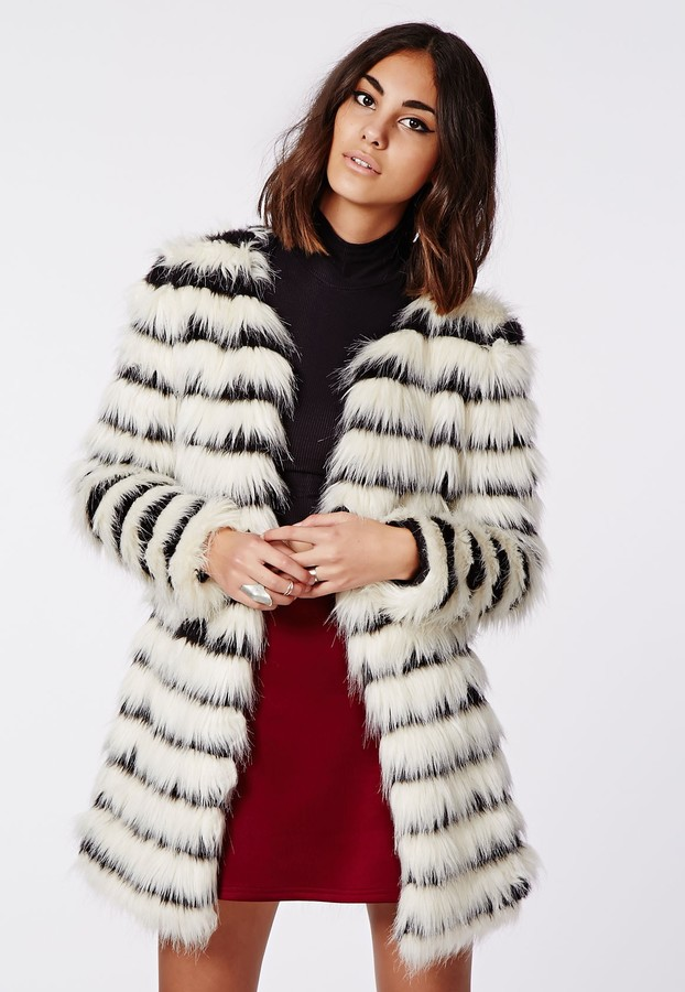 Missguided Katy Shaggy Faux Fur Coat Monochrome | Where to buy ...