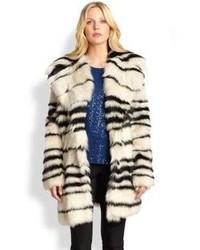 DKNY Striped Shearling Coat