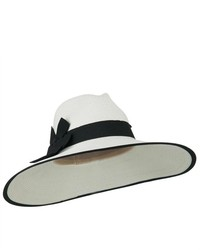 Jeanne Simmons Upf 50 Fedora Crown Paper Braid Hat White Black W35s16d