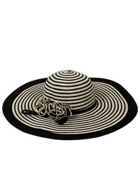 PDS Online Lady Sun Floppy Straw Hat Striped Wide Brim Hat W Flower Deco For Holiday