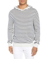 White and Black Horizontal Striped Hoodie