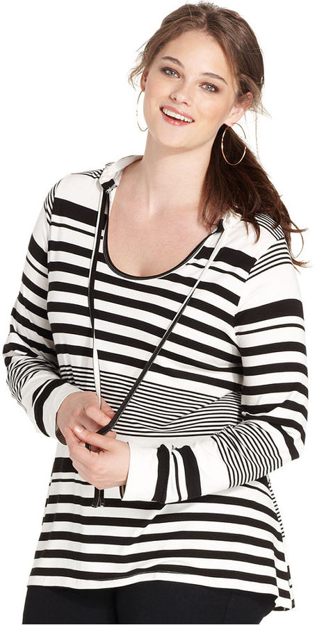 American Rag Plus Size Striped Hoodie Where To Buy How To Wear