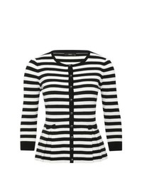M co striped peplum cardigan with bows and 34 length sleeves black and white 20 medium 547588