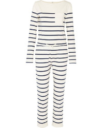 White and Black Horizontal Striped Jumpsuit