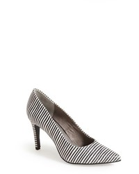 White and Black Horizontal Striped Leather Pumps