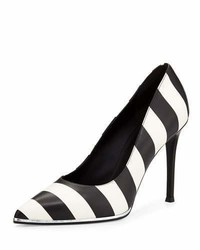 Striped leather pump blackwhite medium 656743