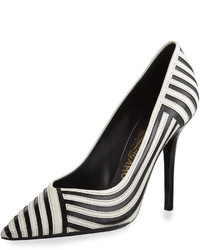 Salvatore Ferragamo Susi Striped Pointed Toe Pump Nerolait