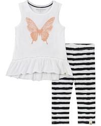 Baby Girl Burts Bees Baby Butterfly Tunic Striped Capri Leggings Set