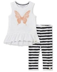 Burts Bees Baby 2 Piece Organic Cotton Butterfly Tunic And Striped Legging Set