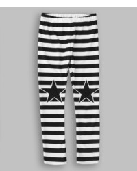 Urban Smalls White Black Stripe Star Leggings Infant Toddler Girls
