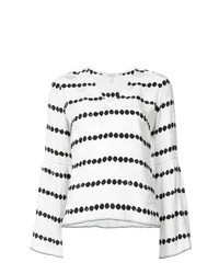 White and Black Horizontal Striped Long Sleeve Blouse