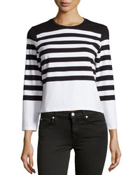 Chelsea & Theodore Striped Knit Crop Top Whiteblack