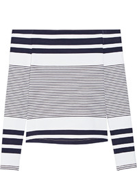 Rosetta Getty Off The Shoulder Striped Stretch Jersey Top