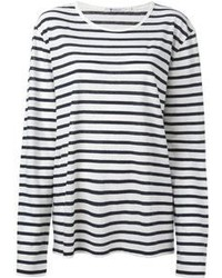 White and Black Horizontal Striped Long Sleeve T-shirts for Women ...