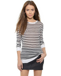 Alexander Wang T By Striped Rayon Linen Tee