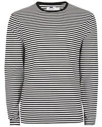 Topman Black And White Stripe Long Sleeve T Shirt