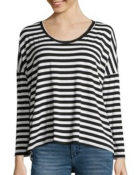 Wyatt Black And White Striped Jersey Knit Long Sleeve Tee Shirt