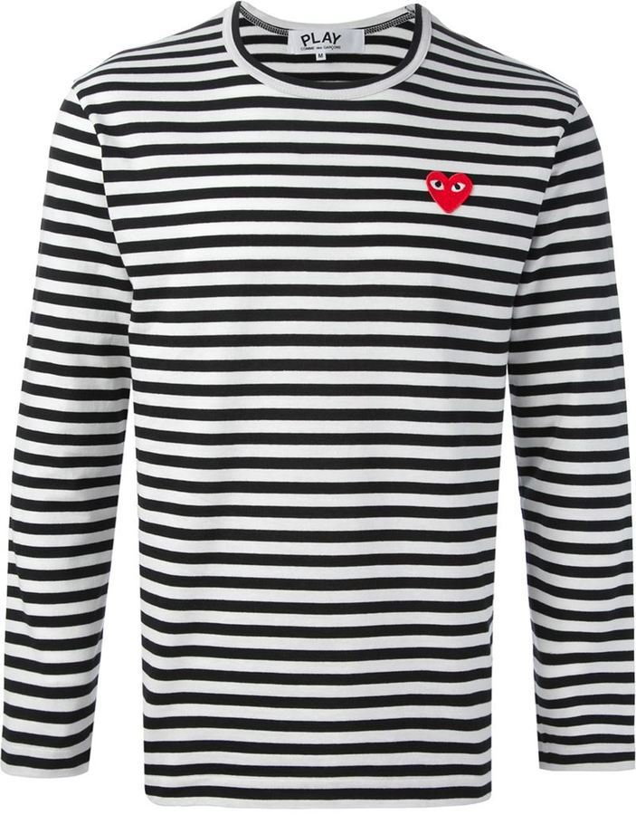Comme des Garcons Comme Des Garons Play Embroidered Heart Striped T Shirt