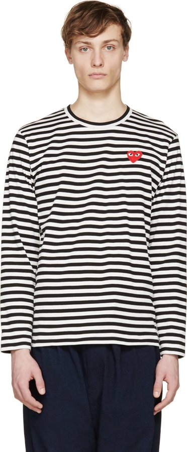 b3db4735 ... Long Sleeve T-Shirts Comme des Garcons Comme Des Garons Play Black  White Striped Logo T Shirt ...
