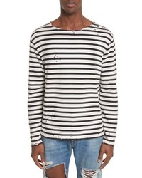 R13 Distressed Stripe Long Sleeve T Shirt