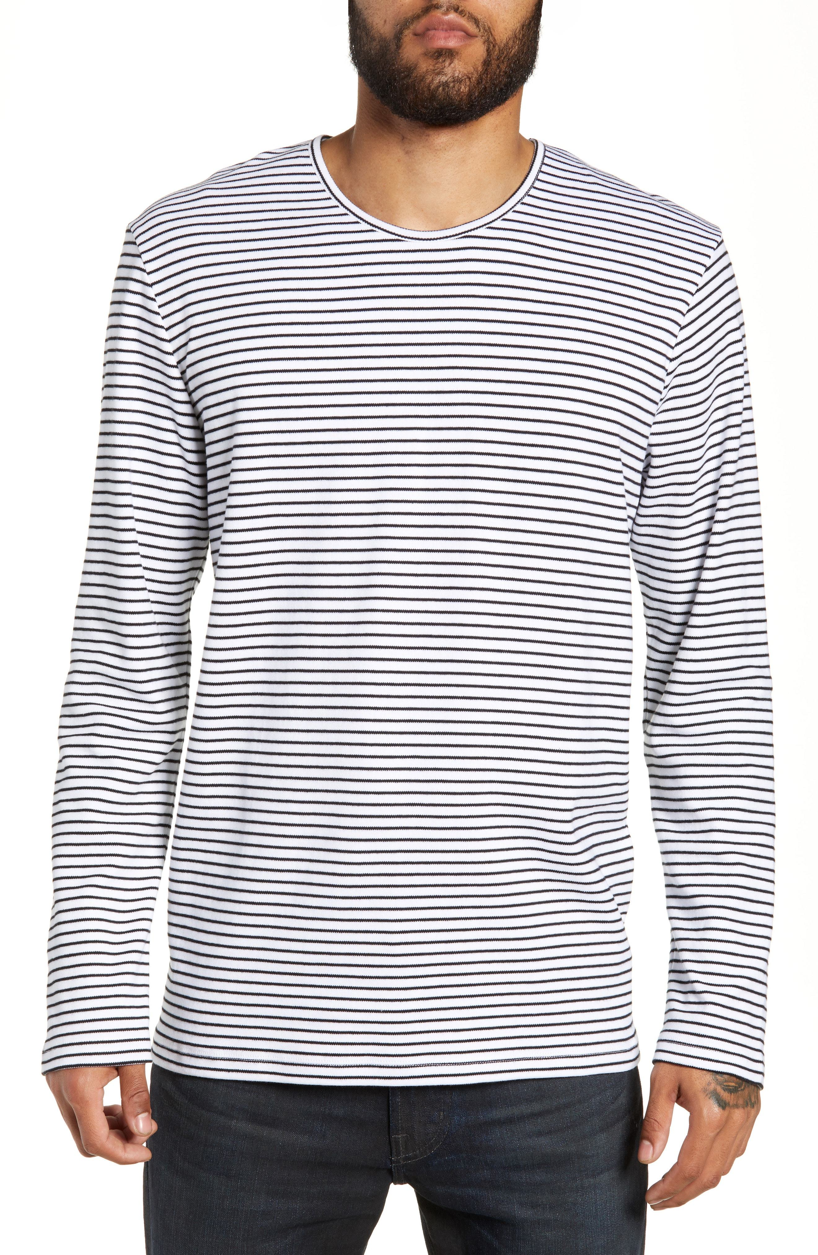 WAX LONDON Finham Stripe Long Sleeve T Shirt