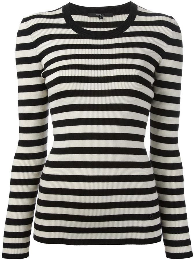 Gucci ribbed t shirt where to buy how to wear for Black and white striped long sleeve shirt women