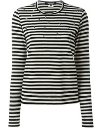 Junya Watanabe Comme Des Garons Studded Striped Long Sleeve T Shirt