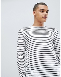 New Look Long Sleeve T Shirt With Stripe In White