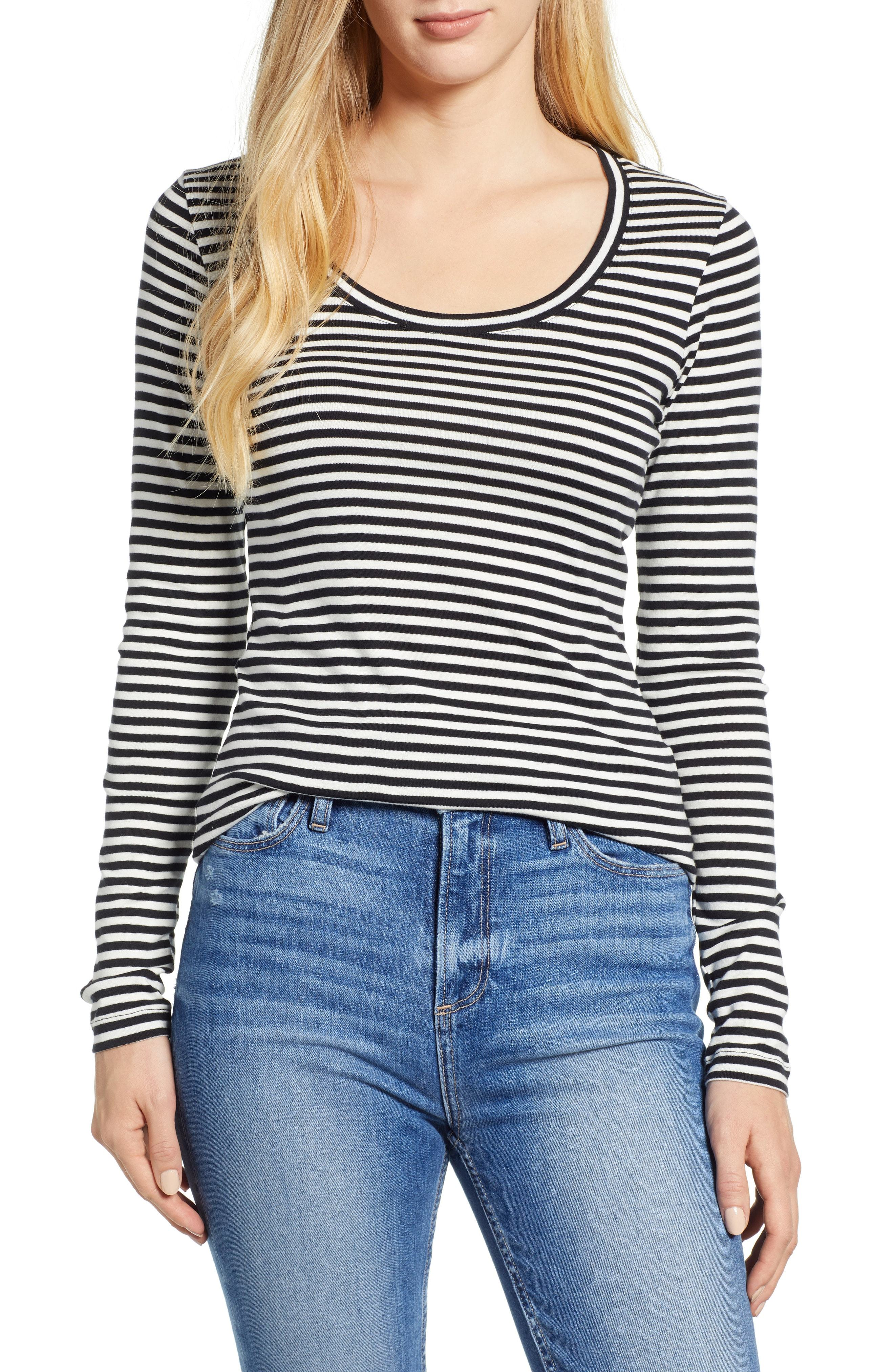e376b5d7 ... and Black Horizontal Striped Long Sleeve T-shirts Caslon Melody Long  Sleeve Scoop Neck Tee