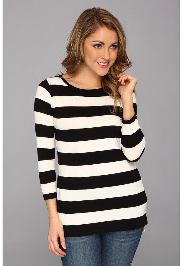 Nydj wide sripe tee t shir for Black and white striped long sleeve shirt women