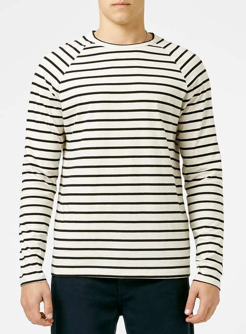 e1b4d7df3979 ... Topman Off White And Black Stripe Long Sleeve T Shirt ...