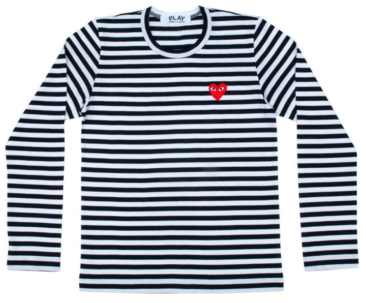 3abc396ec5fd ... Striped Long Sleeve T-Shirts Comme des Garcons Play Stripe T Shirt With  Red Heart