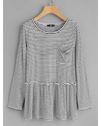 Romwe Pocket Front Frill Detail Striped Smock Top